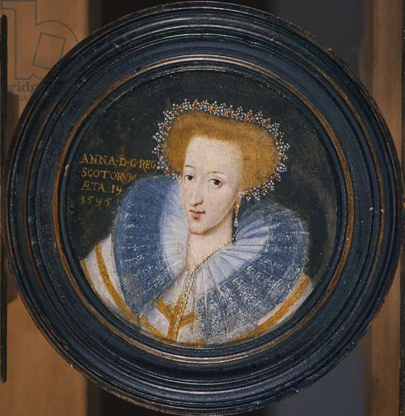 Queen Anne of Denmark (1574-1619), wife of James VI of Scotland and I of England and Ireland (1566-1625), 1595 (panel) (miniature)