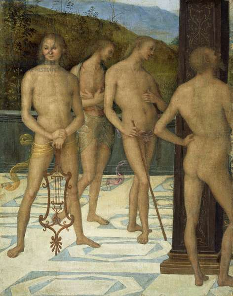 A Fragment: Four Male Nude Figures, c.1505 (oil on canvas)