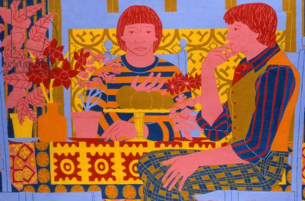 Figures at a Table with Plants, 1971 (oil on board)