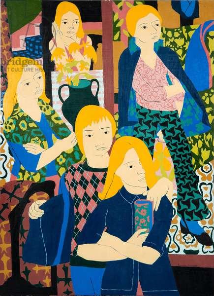People in a Picture Gallery, Oil on Board, 122 x 89 cm, -® Norman Gilbert 1969.jpg, 1969 (oil on board)