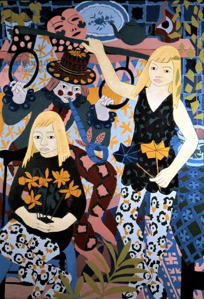 Two Girls and a Painted Clown, 1967 (oil on board)