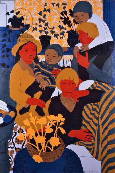 The Artists Family with Mark, 1970 (oil on board)