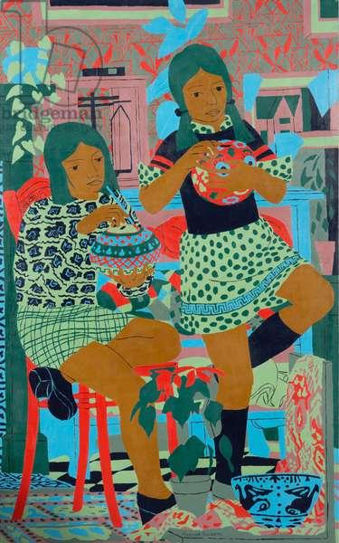 Two Girls, 1974 (oil on board)