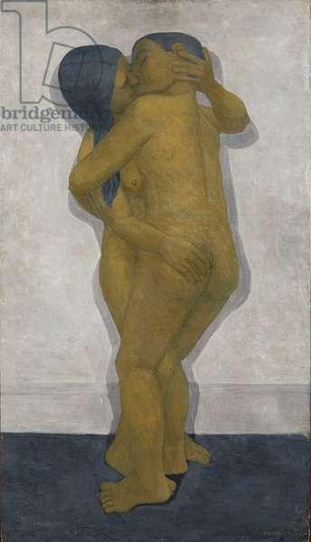 Embrace, 1956 (oil on board)