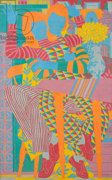 Two People, Patterns and Daffodils, 1982 (oil on board)