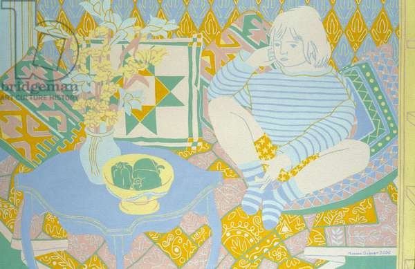 Child, Flowers and  Cushions, 1999 (oil on board)