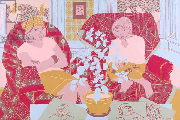 Grandchildren in the Studio, 2007 (oil on board)