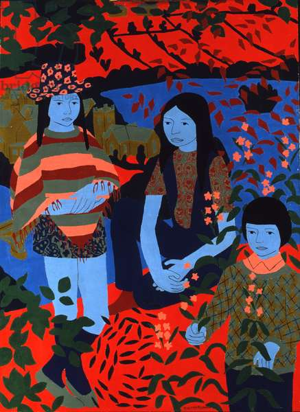 Children in the Highlands, 1970 (oil on board)