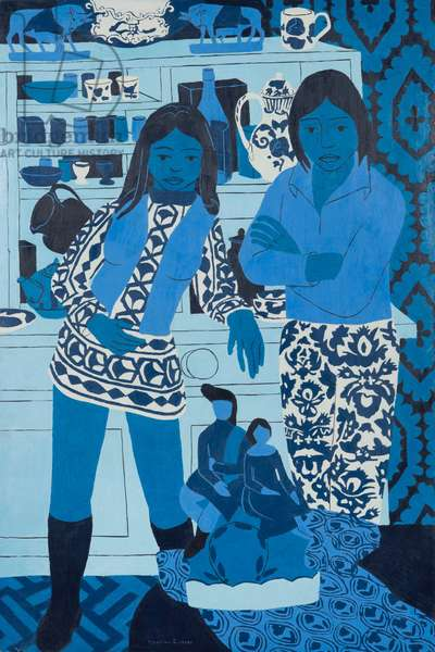 Blue and White Figures, 1973 (oil on board)