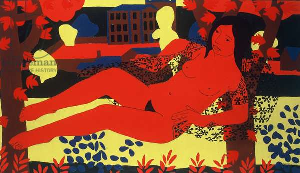 Red Nude, 1971 (oil on board)