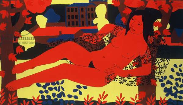 The Red Nude, 1971 (oil on Board)
