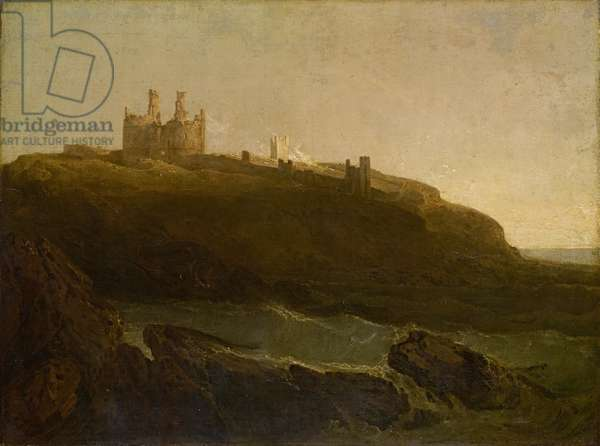 Dunstanborough Castle, Sunrise after a Squally Night, 1798 (oil on canvas)