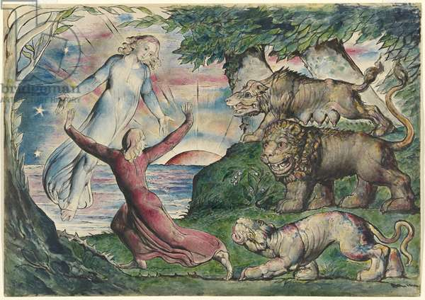 Dante running from the three beasts, illustration to the 'Divine Comedy' by Dante Alighieri, 1824-27 (pen & ink with w/c over pencil and chalk)