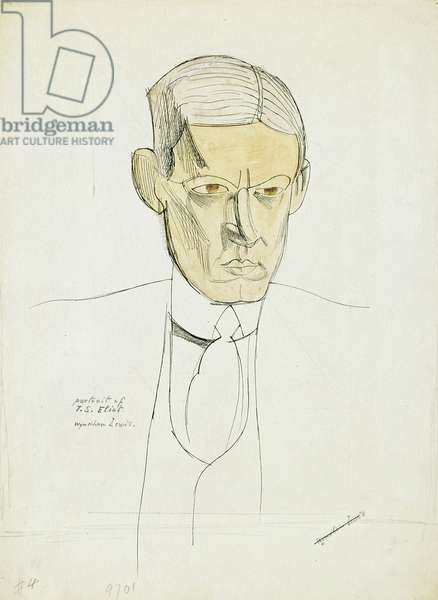Portrait of Thomas Stearns Eliot (1888-1965) c.1930 (pen, ink and wash on paper) (see also 69188)