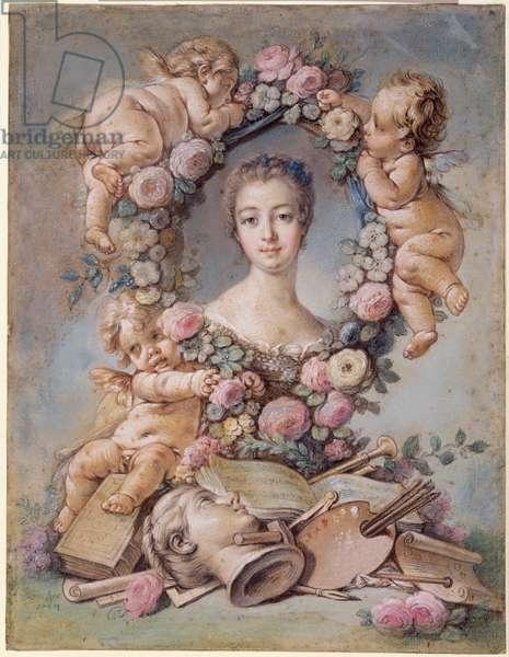 Madame de Pompadour (1721-64) 1754 (pastel over sanguine & light grey-blue washes)