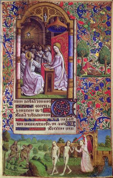 Folio 75v. The Pentecost, from The Wharncliffe Hours, c.1475-80 (vellum)