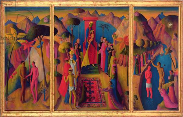 The Virgin Enthroned (altarpiece triptych) 1951 (oil on canvas)