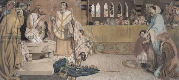 Cartoon for the Baptism of Edwin (c.585-633) King of Northumbria and Deira, 1879-91 (coloured chalks & pastel)