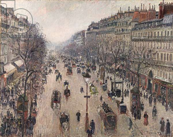 Boulevard Montmartre, Morning, Cloudy Weather, 1897 (oil on canvas)