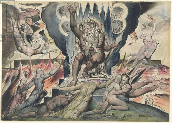 Minos, illustration to the 'Divine Comedy' by Dante Alighieri, 1824-27 (pen & ink with w/c over pencil and chalk)