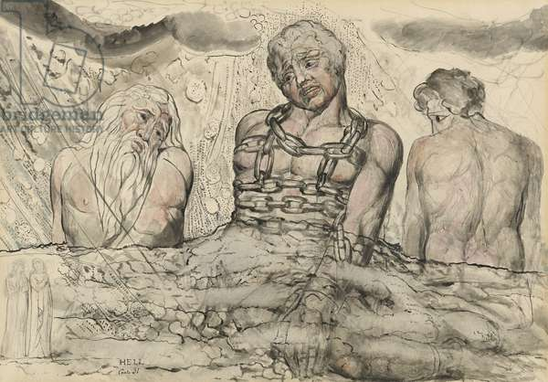 Ephialtes and two other Titans, illustration to the 'Divine Comedy' by Dante Alighieri, 1824-27 (pen & ink with w/c over pencil and chalk on paper)