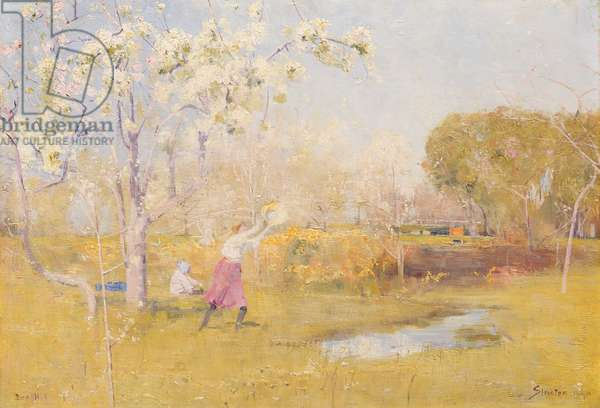 Butterflies and Blossoms, 1890 (oil on canvas on composition board)