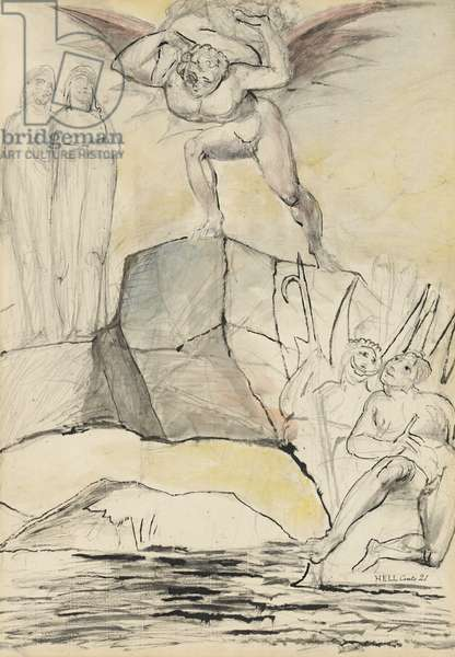 The Devil carrying the Lucchese magistrate to the boiling-pitch pool of corrupt officials, illustration to the 'Divine Comedy' by Dante Alighieri, 1824-27 (pen & ink with w/c over pencil and chalk)