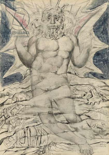 Lucifer, illustration to the 'Divine Comedy' by Dante Alighieri, 1824-27 (pen & ink with w/c over pencil and chalk)