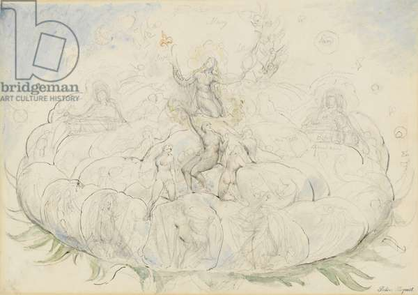 The Queen of Heaven in Glory, illustration to the 'Divine Comedy' by Dante Alighieri, 1824-27 (pen & ink with w/c over pencil and chalk on paper)