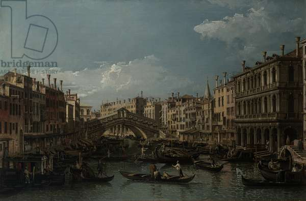 Grand Canal and Rialto Bridge from the East, c.1745 (oil on canvas)
