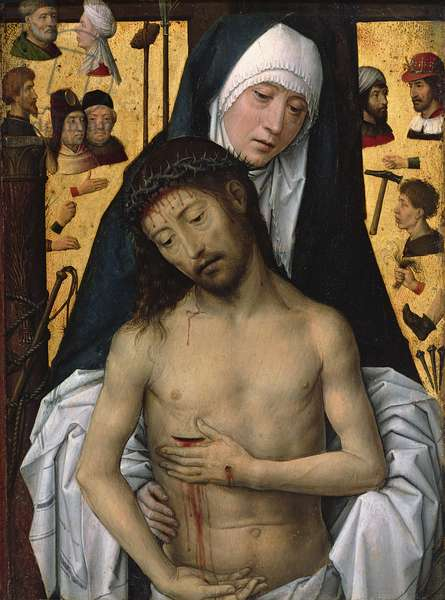 The Man of Sorrows in the Arms of the Virgin, 1475 (oil on panel)