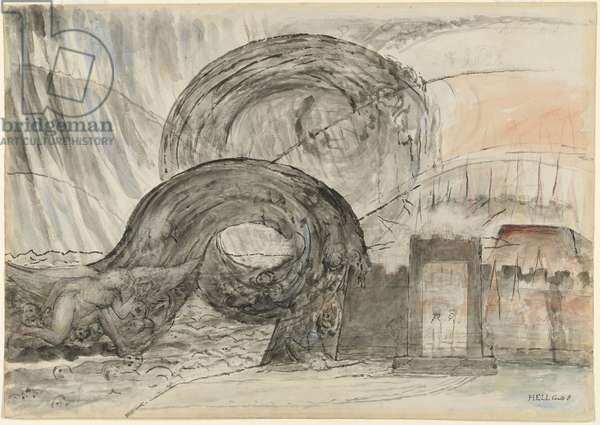 The angel crossing the Styx, illustration to the 'Divine Comedy' by Dante Alighieri, 1824-27 (pen & ink with w/c over pencil and chalk)