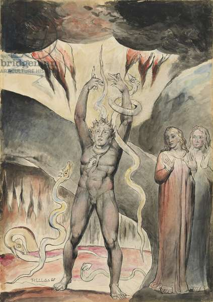 Vanni Fucci 'making figs' against God, illustration to the 'Divine Comedy' by Dante Alighieri, 1824-27 (pen & ink with w/c over pencil and chalk)