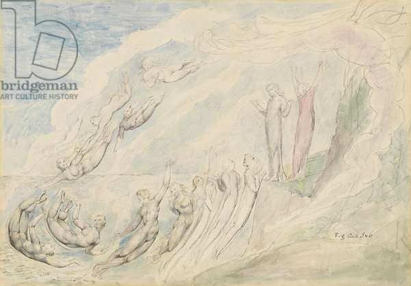 The souls of those who only repented at the point of death, illustration to the 'Divine Comedy' by Dante Alighieri, 1824-27 (pen & ink with w/c over pencil and chalk)