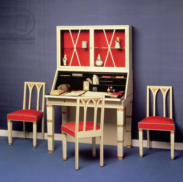 Bureau and chairs from Hermine Gallia's boudoir, designed by Josef Hoffmann (1870-1956) 1913 (white enamelled wood, glass & silk)