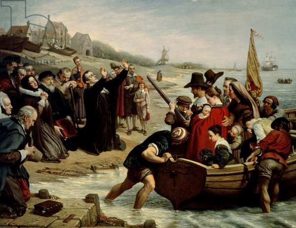 The Pilgrim Fathers: Departure of a Puritan Family for New England, 1856 (oil on canvas)