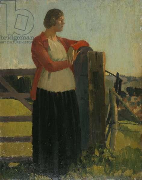 Lyndra, Sunset, Aldbourne (oil on panel)