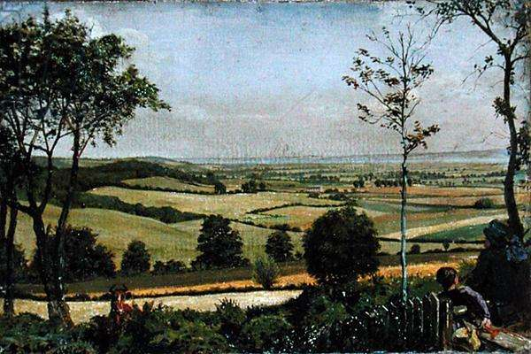 The Medway Seen from Shorn Ridgway, Kent, 1873 (oil on board)