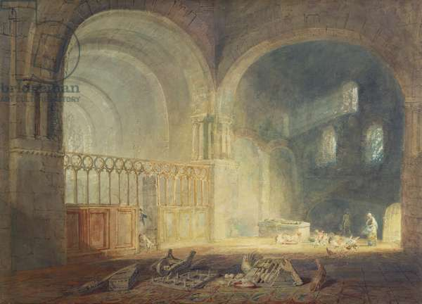 Transept of Ewenny Priory, Glamorganshire, c.1797 (w/c over pencil on paper)