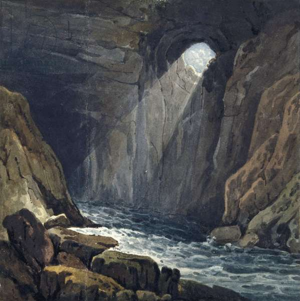 Interior of the cave at Porth yr Ogof, 1816 (w/c on paper on card)