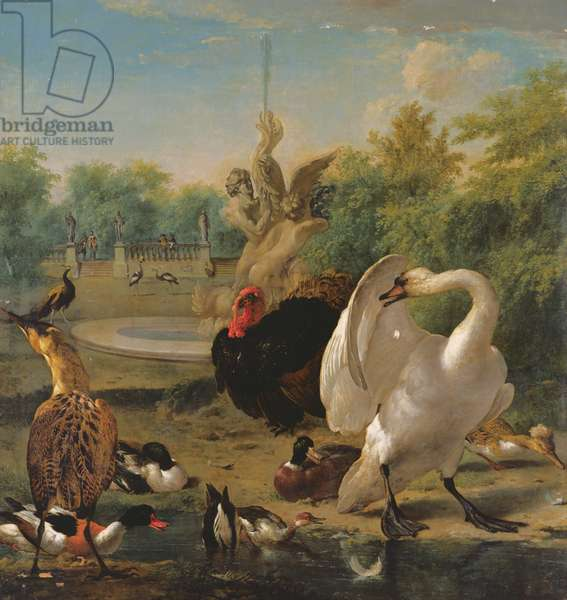 A Park with Swan and Other Birds (oil on canvas)