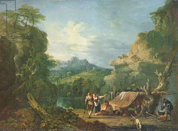 Landscape with Banditti Round a Tent, 1752 (oil on canvas)