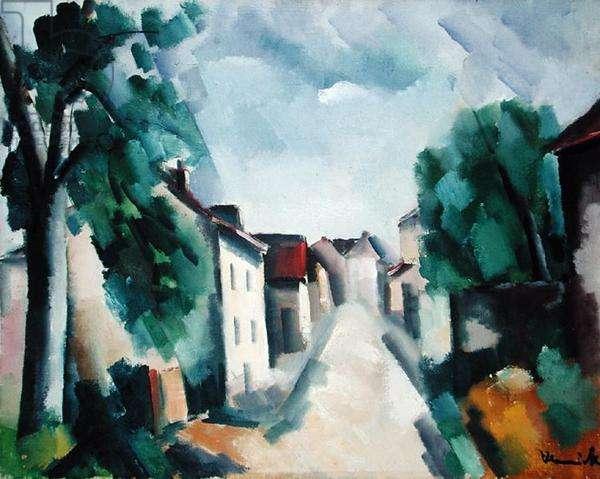 Village Street (oil on canvas)