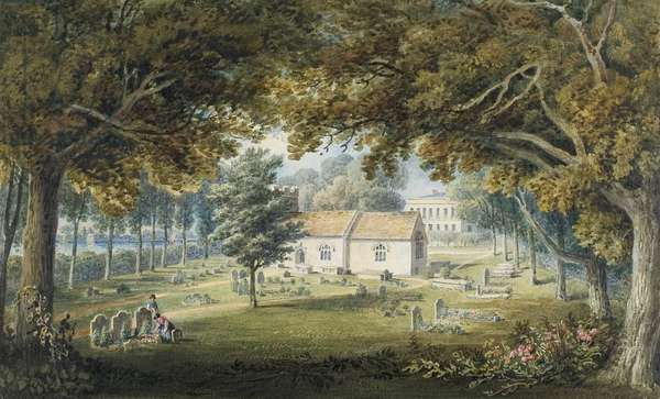 Briton Ferry, Churchyard (w/c, pencil & gum arabic on paper)