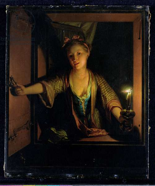 A Girl at the Window (oil on board)