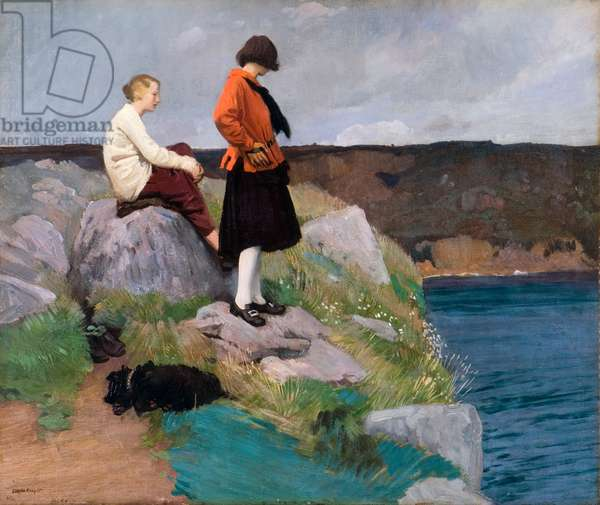 The Cornish Coast, 1917 (oil on canvas)