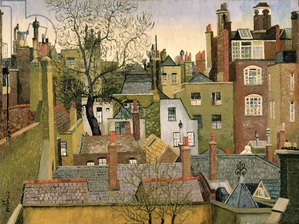 From a Window at 45 Brook Street, London, W1, 1926 (oil on plywood)