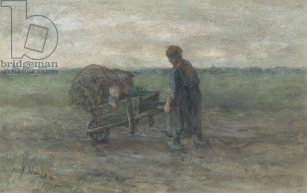 Returning from the fields (w/c & bodycolour on paper)
