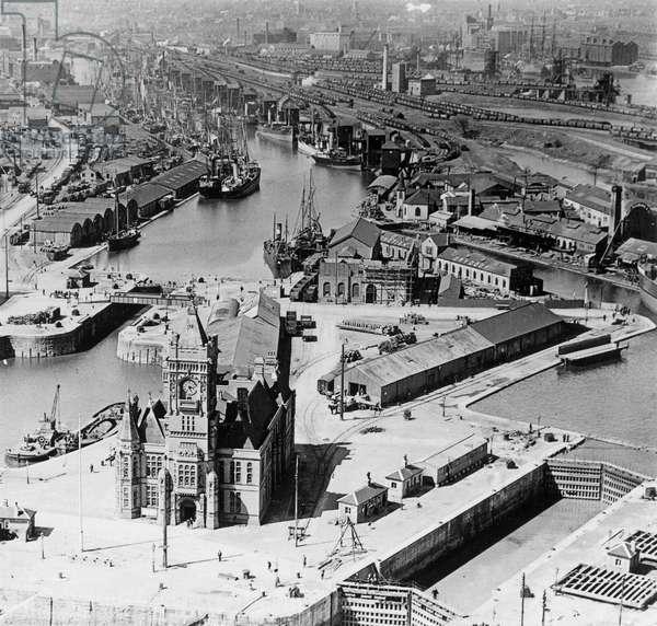 Aerial View of Pierhead Building, Cardiff (b/w photo)