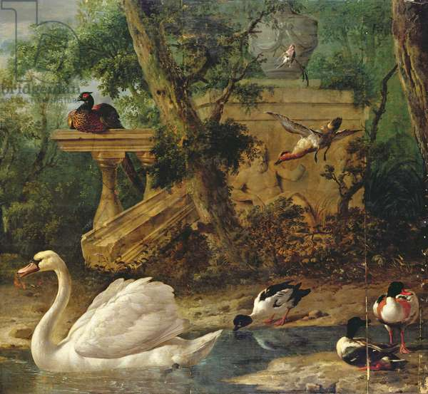 Birds in a Garden (oil on canvas)